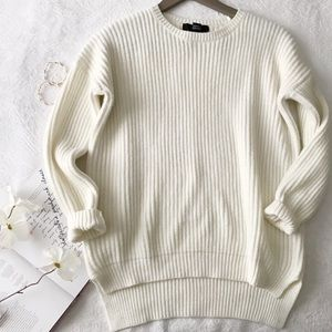 Classic + Cozy Off White Crewneck Ribbed Sweater
